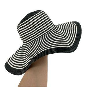 NWT EXPRESS Straw Floppy Hat - Black/White Stripes